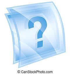 aiuto, isolato, blu, fondo, bianco, icona