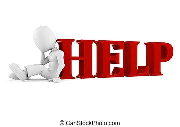 aiuto, isolato, dall'aspetto, bianco, 3d, uomo