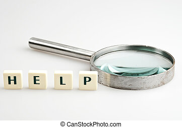 aiuto, parola, e, lente ingrandimento