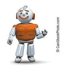 aiuto, servire, robot, 3, pronto, amichevole