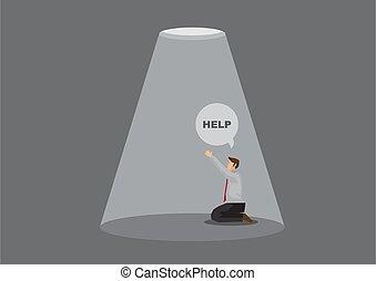 aiuto, vettore, pregare, cartone animato, intrappolato, ...