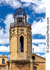 Aix-en-Provence. The bell tower of the old church of the Holy Ghost.