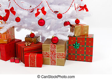 ajándékoz, alatt, white christmas fa