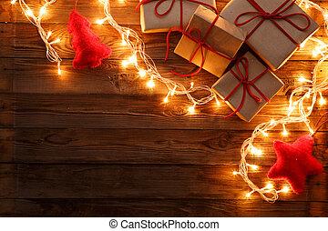 ajándékoz, fából való, karácsony, háttér