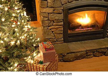 ajándékoz, fa, karácsony, alatt