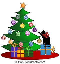 ajándékoz, fa, karácsonyi díszek, macska
