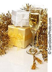 ajándékoz, pezsgő, &