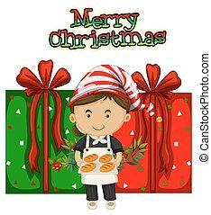 ajándékoz, séf, téma, karácsony