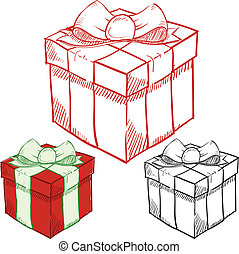 ajándékoz, skicc, karácsony