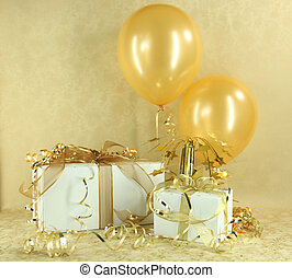 ajándékoz, születésnap, évforduló, arany, karácsony