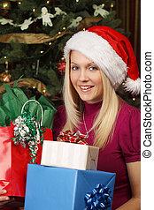 ajándékoz, szőke, karácsony, női, birtok