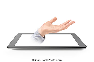 ajánl, kéz, tabletta, digitális