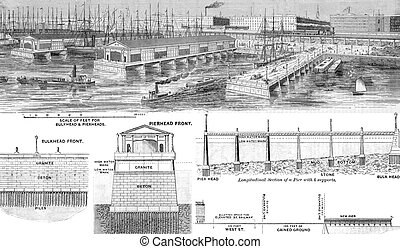 ajánl, wharfage, stég, és, közművesített, elülső, helyett, város új york