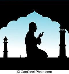 ajánlat, imák, emberi, mecset, árnykép