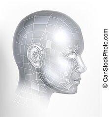 aj, 3d, technologia, twarz, cyber, tech, cyfrowy, głowa