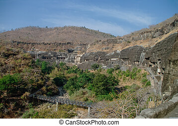 ajanta, maharashtra, índia, aurangabad, estado, cavernas