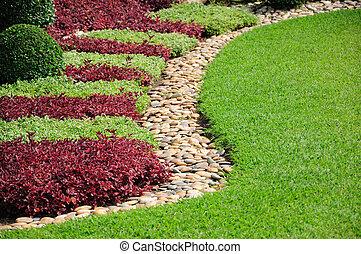 ajardinado, yarda, jardín