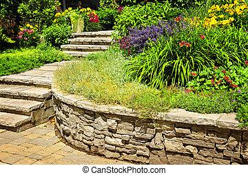 ajardinar, pedra, natural