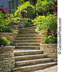 ajardinar, piedra, escaleras