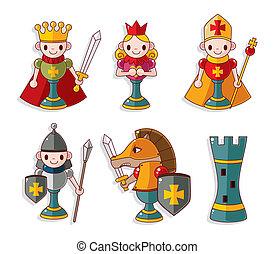 ajedrez, aislado, caricatura