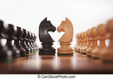 ajedrez, dos, filas, de, peones, con, caballero, desafío,...