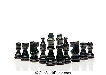 ajedrez, oscuridad, pedazos