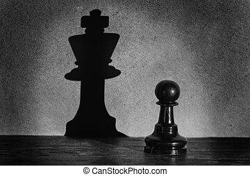 ajedrez, peón, posición, en, un, proyector, eso, marca, un,...