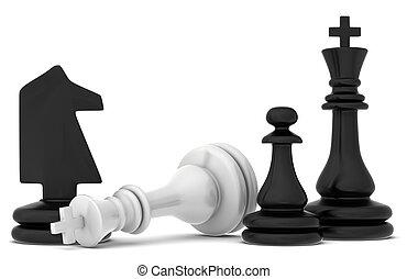 ajedrez, plano de fondo, blanco, pedazo, caído, acostado