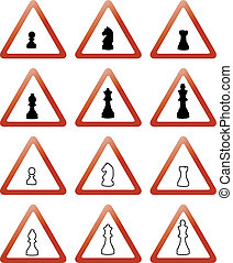 ajedrez, señales, pedazos, trafic