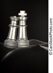 ajedrez, y, cuerpo, desnudo, mujeres
