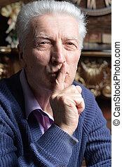 ajkak, tapogat, idősebb ember, gesztus, csend, ember