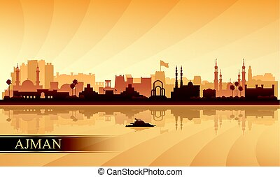 ajman, 都市 スカイライン, シルエット, 背景