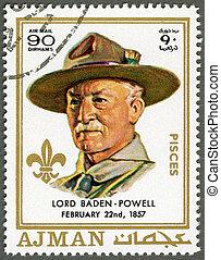 AJMAN - 1970: shows Robert Baden-Powell (1857-1941) - AJMAN...