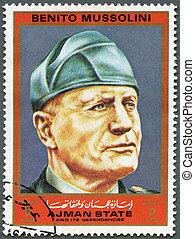 AJMAN - CIRCA 1972: A stamp printed in Ajman shows Benito...