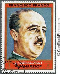 AJMAN - CIRCA 1972: A stamp printed in Ajman shows Francisco...
