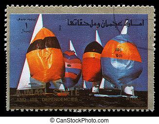 ajman, -, circa, 1973:, um, selo, impresso, em, a, ajman, mostra, velejando, verão, olympics, circa, 1973