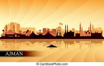 Ajman city skyline silhouette background
