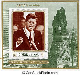 ajman, john, kennedy, usa, briefmarke, -, fitzgerald, 1963,...