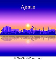 Ajman silhouette on sunset background