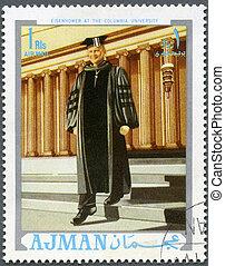 ajman, -, zirka, 1970:, a, briefmarke, gedruckt, in, ajman, shows, präsident, dwight d. eisenhower, (1890-1969), an, der, kolumbien, universität, zirka, 1970