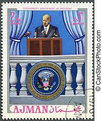 ajman, -, zirka, 1970:, a, briefmarke, gedruckt, in, ajman, shows, präsident, dwight d. eisenhower, (1890-1969), verabredung, als, präsident, zirka, 1970
