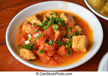 Ajoarriero tomato with tofu soup, Vietnam food