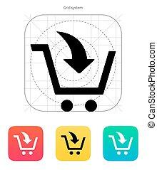ajouter, achats, icon., charrette