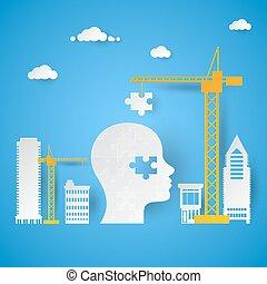 ajouter, dernier, puzzle, idée, illustration, créatif, vecteur, head., grue, morceau, concept.