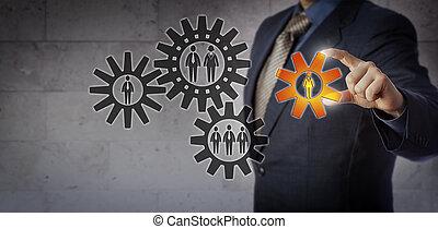 ajouter, efficace, travail, directeur, femme, équipe