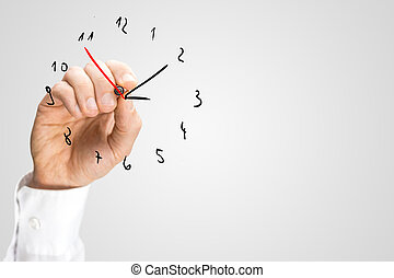 ajouter, horloge, trotteuse, hand-drawn, homme