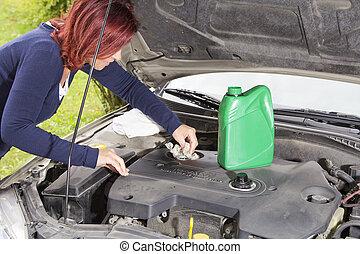 ajouter, huile, voiture, après, nettoyage, moteur
