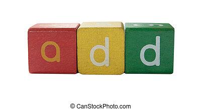 ajouter, lettres, children\'s, bloc