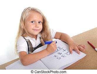 ajouter, peu, concept, séance, nombres, écolière, education, enfants, heureux