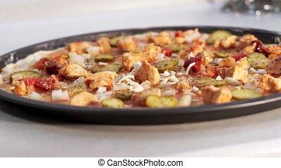 ajouter, protvin, pizza fromage, nourriture, fait maison, close-up., cuisine, pizza